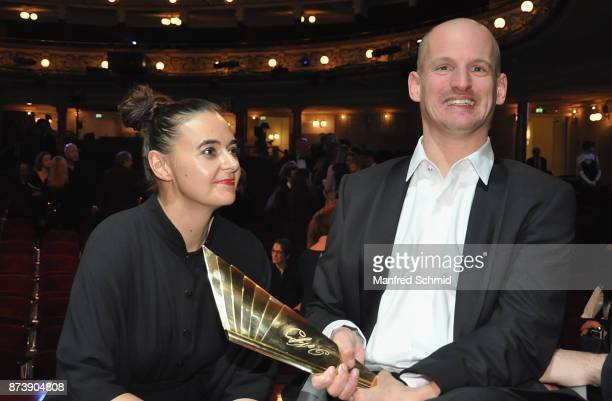 Doris Uhlich and Michael Turinsky pose during the Nestroy Theatre Award at Ronacher Theater on November 13 2017 in Vienna Austria