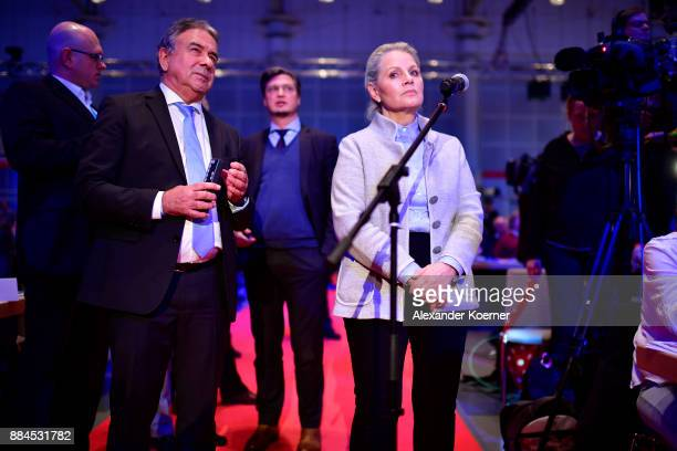 Doris von Sayn-Wittgenstein of the right-wing Alternative for Germany reacts after her withdrawal from the election as co-chairwoman during the AfD...