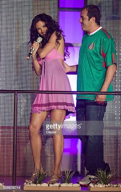 Dorismar and Cuauhtemoc Blanco during the presentation of the soap opera El triunfo Del Amor of Televisa on October 20 2010 in Mexico City Mexico