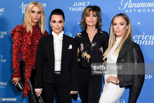 Dorit Kemsley Kyle Richards Lisa Rinna and Teddi Mellencamp Arroyave attend Premiere Of Paramount Network's 'American Woman' Arrivals at Chateau...