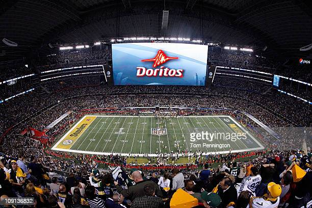 Doritos ad is displayed on the screen during Super Bowl XLV at Cowboys Stadium on February 6 2011 in Arlington Texas