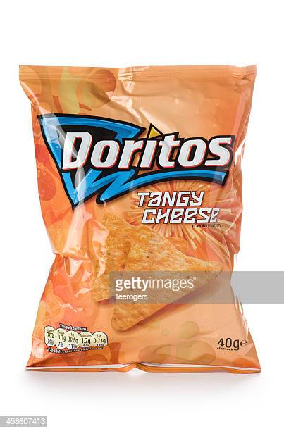 Doritos tangy cheese tortilla chips on a white background