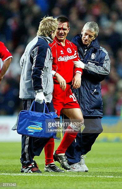 Doriva of Middlesbrough leave the field during the FA Barclaycard Premiership match between Manchester City and Middlesbrough at The City of...