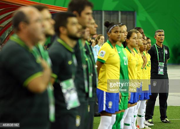 Dorival Buenao head coach of Brazil looks on before the FIFA U20 Women's World Cup 2014 group B match between Brazil and Germany at Olympic Stadium...