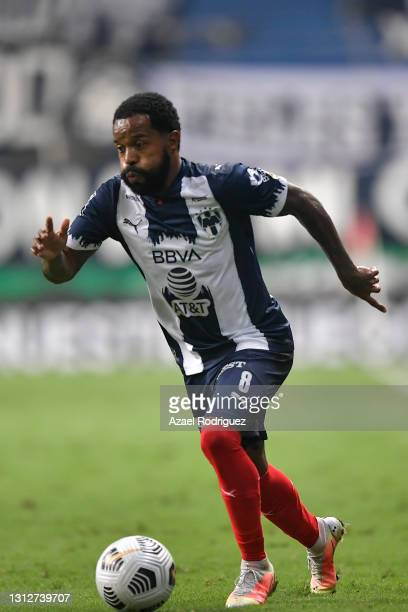 Dorlan Pabón of Monterrey drives the ball during a second leg match between Monterrey and Atletico Pantoja as part of Round of Sixteen of Concacaf...