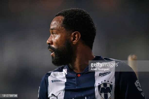 Dorlan Pabón of Monterrey looks on during a second leg match between Monterrey and Atletico Pantoja as part of Round of Sixteen of Concacaf Champions...