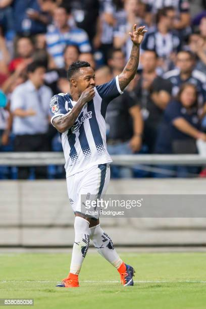 Dorlan Pabon of Monterrey celebrates after score his team's first goal during the 6th round match between Monterrey and Toluca as part of the Torneo...