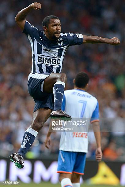 Dorlan Pabon of Monterrey celebrates after scoring his team's first goal during an 8th round match between Monterrey and Cruz Azul as part of the...