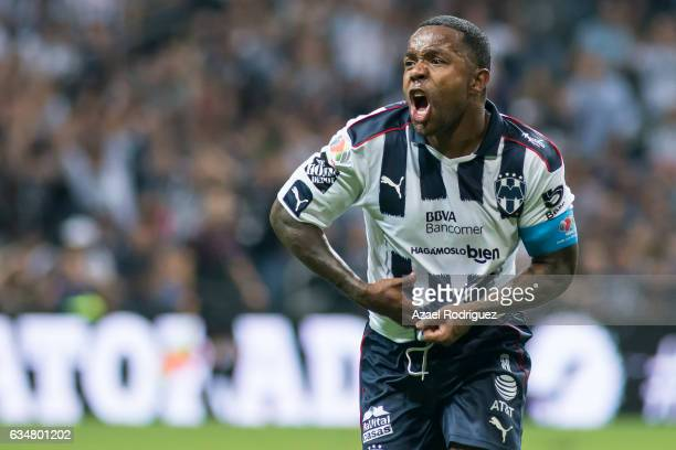 Dorlan Pabon of Monterrey celebrates after scoring his team's first goal during the 6th round match between Monterrey and Pumas UNAM as part of the...