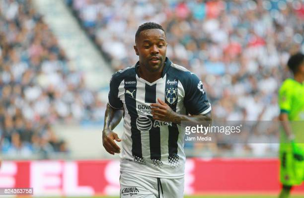 Dorlan Pabon of Monterrey celebrates after scoring his team's first goal during the 2nd round match between Monterrey and Veracruz as part of the...