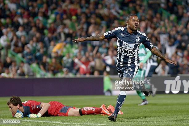 Dorlan Pabon of Monterrey celebrates after scoring the first goal of his team during a 6th round match between Santos Laguna and Monterrey as part of...