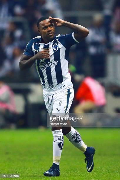 Dorlan Pabon of Monterrey celebrates after scoring the first goal of his team during the second leg of the Torneo Apertura 2017 Liga MX final between...