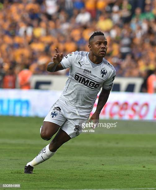 Dorlan Pabon of Monterrey celebrates after scoring the second goal of his team during the quarter finals first leg match between Tigres UANL and...