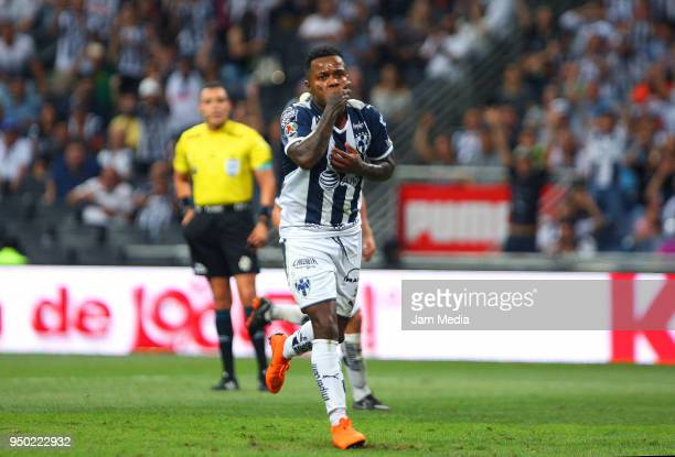 Dorlan Pabon of Monterrey celebrates after scoring the third goal of his team during the 16th round match between Monterrey and Lobos BUAP as part of...