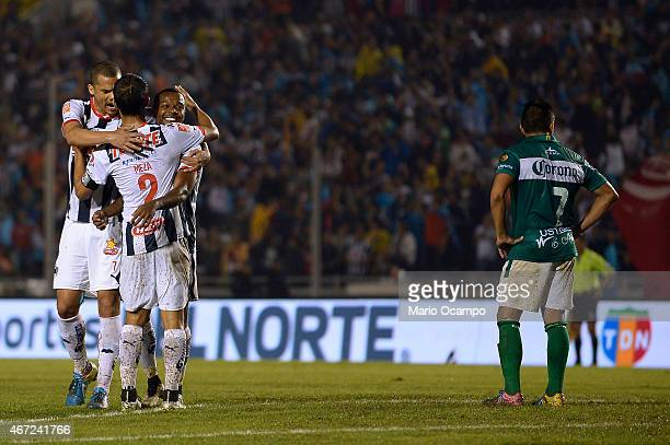 Dorlan Pabon of Monterrey celebrates with his teammates after scoring his team's fourth goal during a match between Monterrey and Leon as part of...