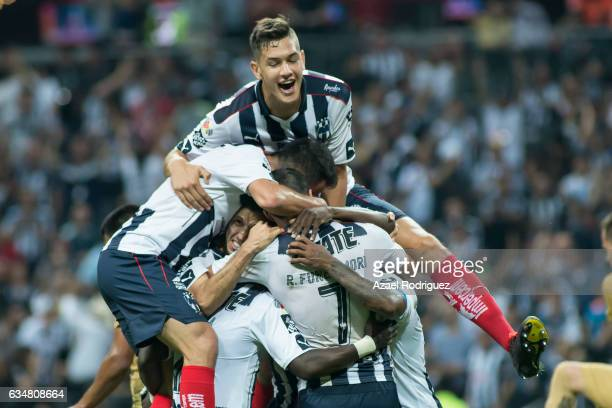 Dorlan Pabon of Monterrey celebrates with teammates after scoring his team's second goal during the 6th round match between Monterrey and Pumas UNAM...