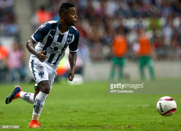 Dorlan Pabon of Monterrey controls the balls during their Mexican Apertura 2017 tournament football match against Atlas at the BBVA Bancomer stadium...