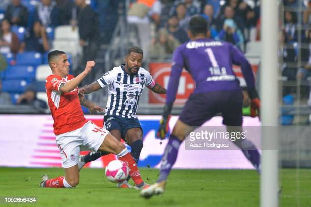 Dorlan Pabon of Monterrey fights for the ball with Alexis Gonzalez of Toluca during the 13th round match between Monterrey and Toluca as part of the...