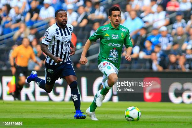 Dorlan Pabon of Monterrey fights for the ball with Fernando Navarro of Leon during the 2nd round match between Monterrey and Leon as part of the...