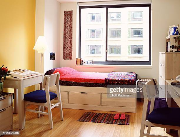 Dorm Room with Storage Bed and Desks