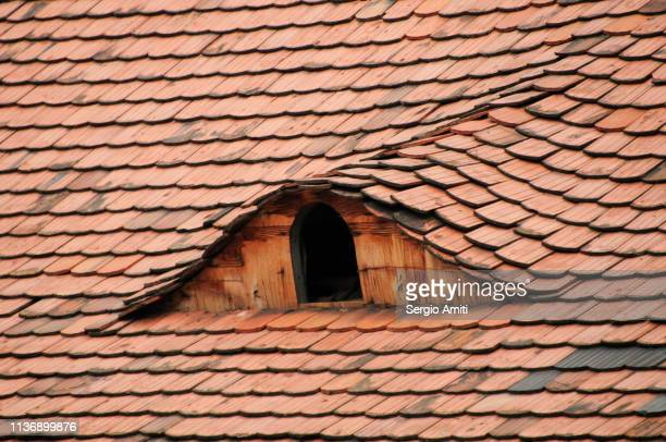 Dormer window on old roof in Budapest