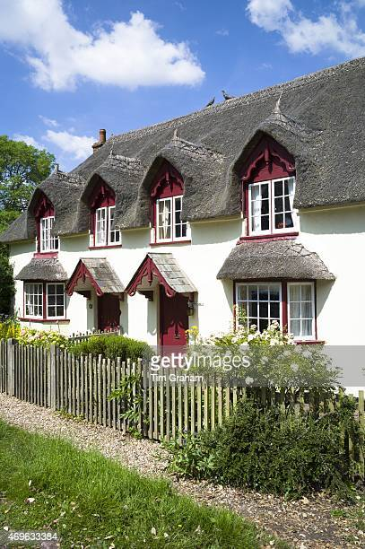Dormer windows and thatched roof of typical quaint country cottage home at Powderham in South Devon England UK