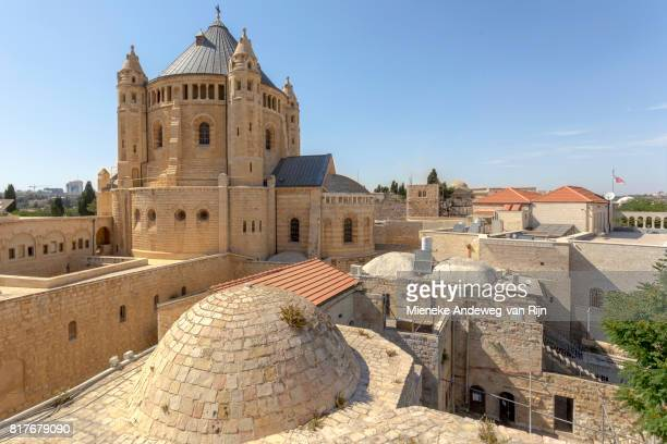 Dormition Abbey, viewed from the terrace of King David's Tomb, in the Armenian Quarter of Jerusalem, Israel. .