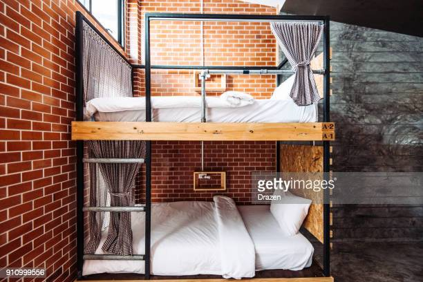 dormitory room in the modern hostel - hostel stock pictures, royalty-free photos & images