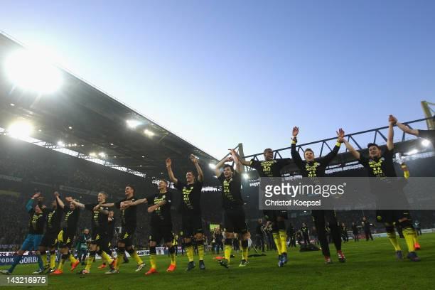 Dormtund celebrates winning the German Championships after the 1 Bundesliga match between Borussia Dortmund an Borussia Moenchengladbach at Signal...