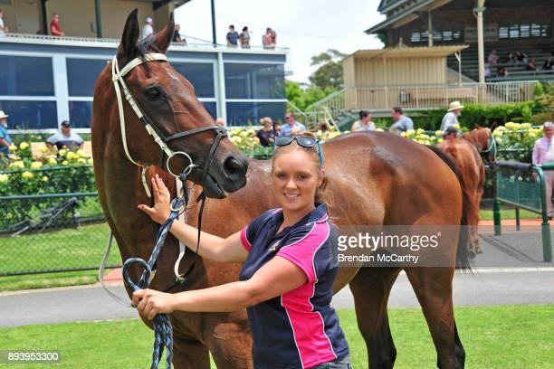 Dornale and strapper Erin Kirkpatrick after winning the ShareMedia BM58 Handicap at Bendigo Racecourse on December 17 2017 in Bendigo Australia