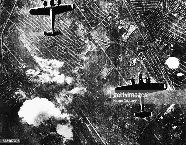 Dornier 217 bombers of the Luftwaffe bomb London during the Battle of Britain