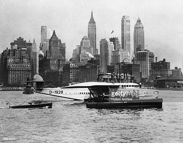 A Dornier DO X flying boat in New York harbour during a roundtheworld trip