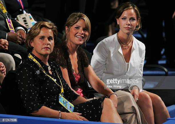 Doro Bush Koch the sister of President George W Bush and Jenna and Barbara Bush the president's daughters wait for the opening of the evening session...