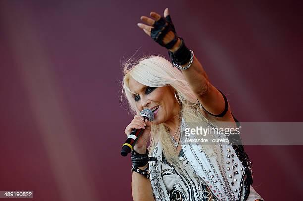Doro Pesch from Angra Dee Snider Doro Pesch performs at 2015 Rock in Rio on September 19 2015 in Rio de Janeiro Brazil