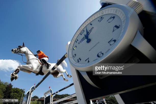 Doron Kuipers of Netherlands riding Charley competes during Day 4 of the Longines FEI Jumping European Championship 2nd part, team Jumping 1st round...