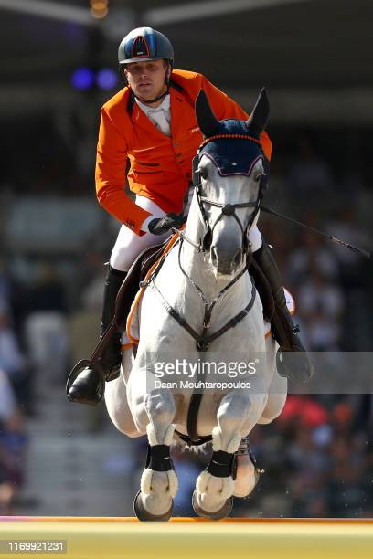 Doron Kuipers of Netherlands riding Charley competes during Day 5 of the Longines FEI Jumping European Championship, Round 2 Team Final, Second...