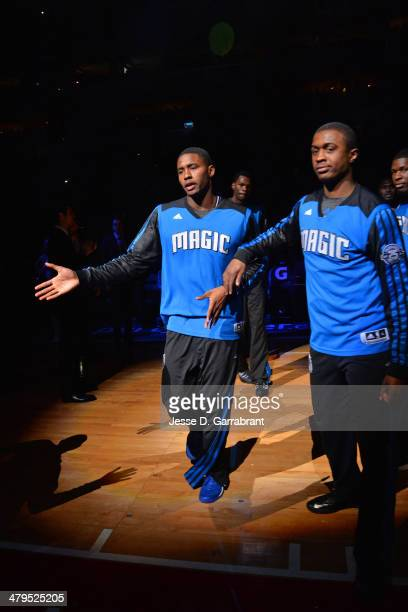 Doron Lamb and Maurice Harkless of the Orlando Magic prepare before the game against the Philadelphia 76ers at the Wells Fargo Center on February 26...