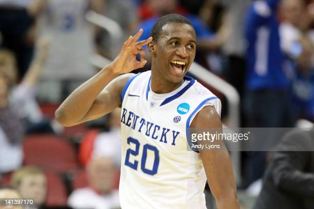 Doron Lamb of the Kentucky Wildcats reacts after he made a 3point shot in the first half against the Western Kentucky Hilltoppers during the second...