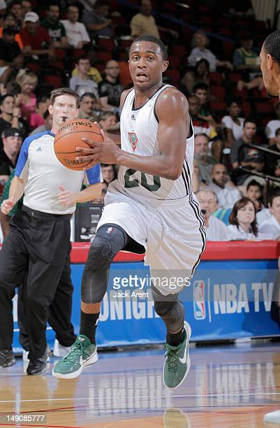 Doron Lamb of the Milwaukee Bucks drives against the Chicago Bulls during NBA Summer League on July 22 2012 at Cox Pavilion in Las Vegas Nevada NOTE...