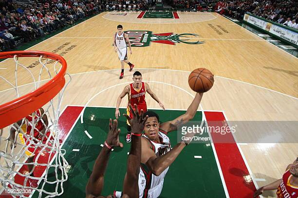 Doron Lamb of the Milwaukee Bucks drives to the basket against the Houston Rockets on January 4 2013 at the BMO Harris Bradley Center in Milwaukee...