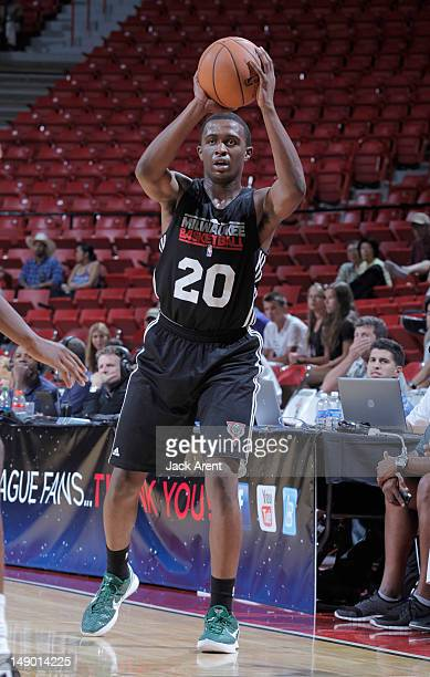 Doron Lamb of the Milwaukee Bucks passes against the Boston Celtics during NBA Summer League on July 21 2012 at the Thomas Mack Center in Las Vegas...
