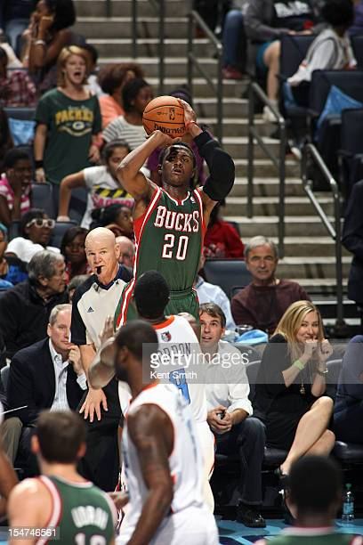 Doron Lamb of the Milwaukee Bucks shoots against the Charlotte Bobcats at the Time Warner Cable Arena on October 25 2012 in Charlotte North Carolina...