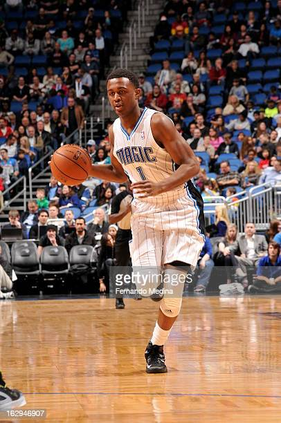 Doron Lamb of the Orlando Magic dribbles the ball up the court looking to pass against the Houston Rockets during the game on March 1 2013 at Amway...
