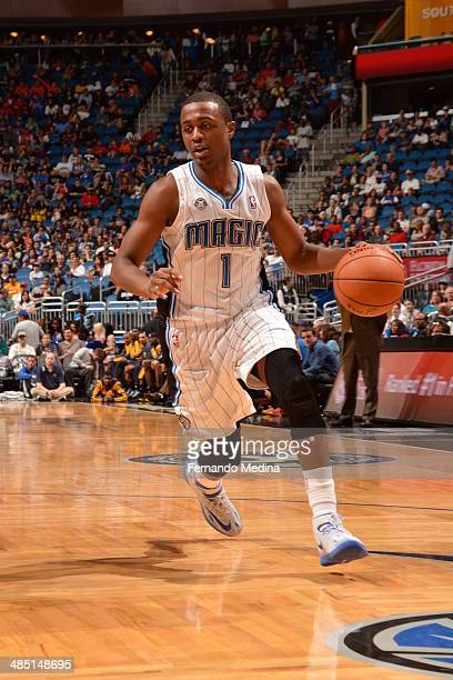 Doron Lamb of the Orlando Magic drives against the Indiana Pacers on April 16 2014 at Amway Center in Orlando Florida NOTE TO USER User expressly...