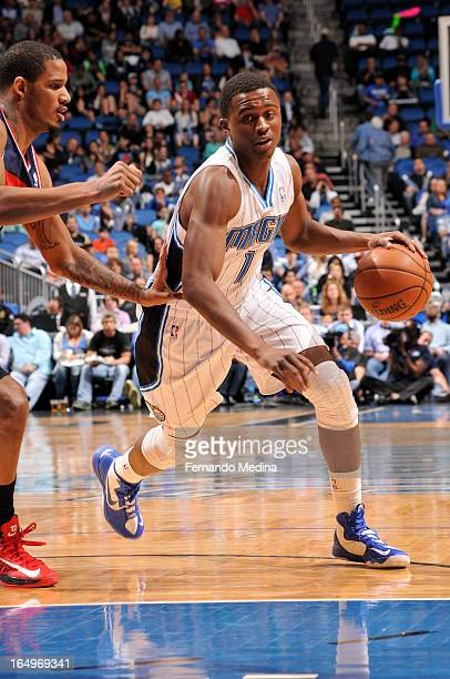 Doron Lamb of the Orlando Magic drives to the basket against the Washington Wizards during the game on March 29 2013 at Amway Center in Orlando...