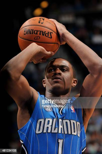 Doron Lamb of the Orlando Magic shoots a foul shot against the Charlotte Bobcats during the game on March 28 2014 at Amway Center in Orlando Florida...