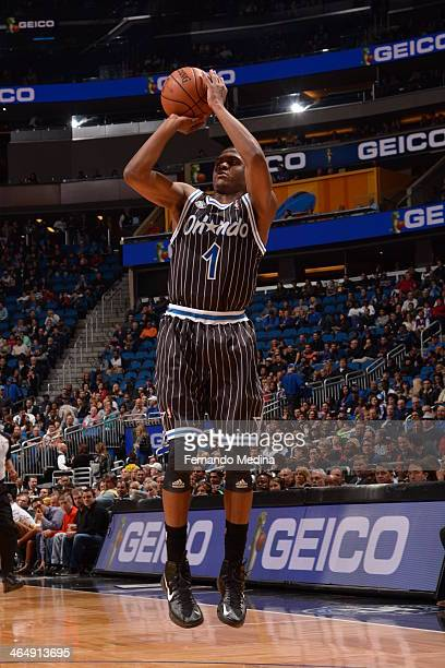 Doron Lamb of the Orlando Magic shoots against the Los Angeles Lakers on January 24 2014 at Amway Center in Orlando Florida NOTE TO USER User...