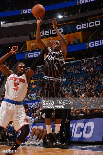 Doron Lamb of the Orlando Magic shoots against the New York Knicks on February 21 2014 at Amway Center in Orlando Florida NOTE TO USER User expressly...