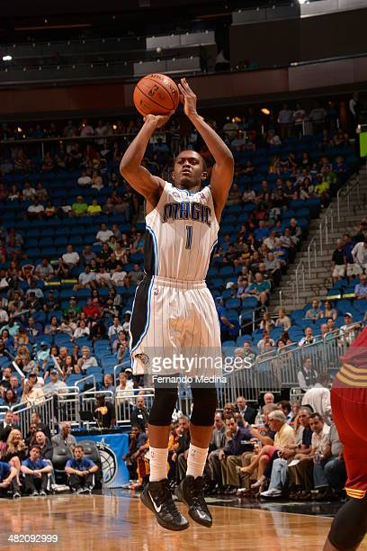 Doron Lamb of the Orlando Magic shoots the ball against the Cleveland Cavaliers during the game on April 2 2014 at Amway Center in Orlando Florida...