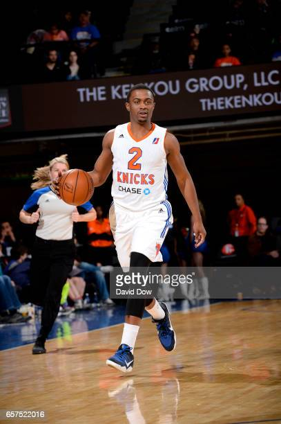 Doron Lamb of the Westchester Knicks dribbles the basketball against the Reno Bighorns at the Westchester County Center on March 24 2017 in...